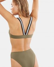 solid and striped evelyn top olive colorblack back