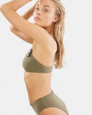 solid and striped evelyn top olive colorblock side