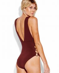 seafolly active ring side high neck one piece plum side