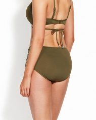 seafolly high waisted quilted pant dark olive back