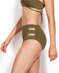 seafolly high waisted quilted pant dark olive side