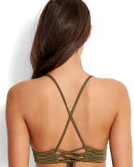 seafolly quilted fixed tri top dark olive back
